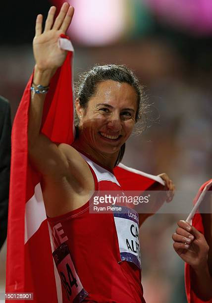 Gold medalist Asli Cakir Alptekin of Turkey after the Women's 1500m Final on Day 14 of the London 2012 Olympic Games at Olympic Stadium on August 10...
