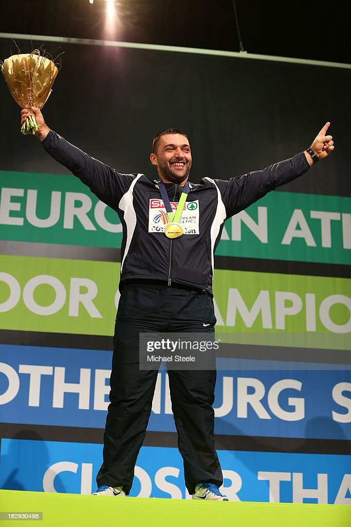 Gold medalist Asmir Kolasinac of Serbia poses during the victory ceremony for the Men's Shot Put during day one of the European Athletics Indoor Championships at Scandinavium on March 1, 2013 in Gothenburg, Sweden.