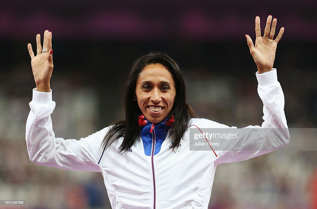 Gold medalist <a gi-track='captionPersonalityLinkClicked' href=/galleries/search?phrase=Assia+El+Hannouni&family=editorial&specificpeople=2905697 ng-click='$event.stopPropagation()'>Assia El Hannouni</a> of France pose on the podium during the medal ceremony for the Women's 400m - T12 on day 6 of the London 2012 Paralympic Games at Olympic Stadium on September 4, 2012 in London, England.