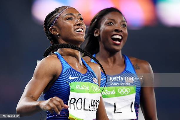 Gold medalist Brianna Rollins and silver medalist Nia Ali of the United States celebrate after the Women's 100m Hurdles Final on Day 12 of the Rio...