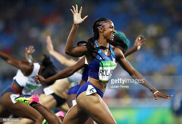 Gold medalist Brianna Rollins of the United States reacts as she wins the Women's 100m Hurdles Final on Day 12 of the Rio 2016 Olympic Games at the...