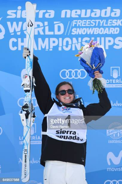Gold medalist Britteny Cox of Australia pose during the flower ceremony for the Women's Moguls on day one of the FIS Freestyle Ski Snowboard World...