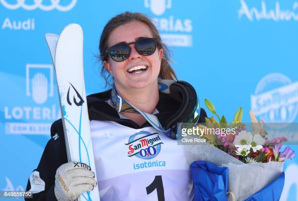 Gold medalist Britteny Cox of Australia poses during the flower ceremony for the Women's Moguls on day one of the FIS Freestyle Ski Snowboard World...