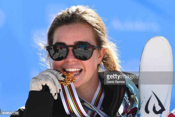 Gold medalist Britteny Cox of Australia poses during the medal ceremony for the Women's Moguls on day one of the FIS Freestyle Ski Snowboard World...
