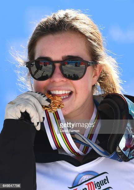 Gold medalist Britteny Cox of Australia poses during the medal for the Women's Moguls on day one of the FIS Freestyle Ski Snowboard World...