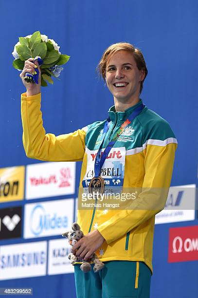 Gold medalist Bronte Campbell of Australia poses during the medal ceremony for the Women's 100m Freestyle on day fourteen of the 16th FINA World...