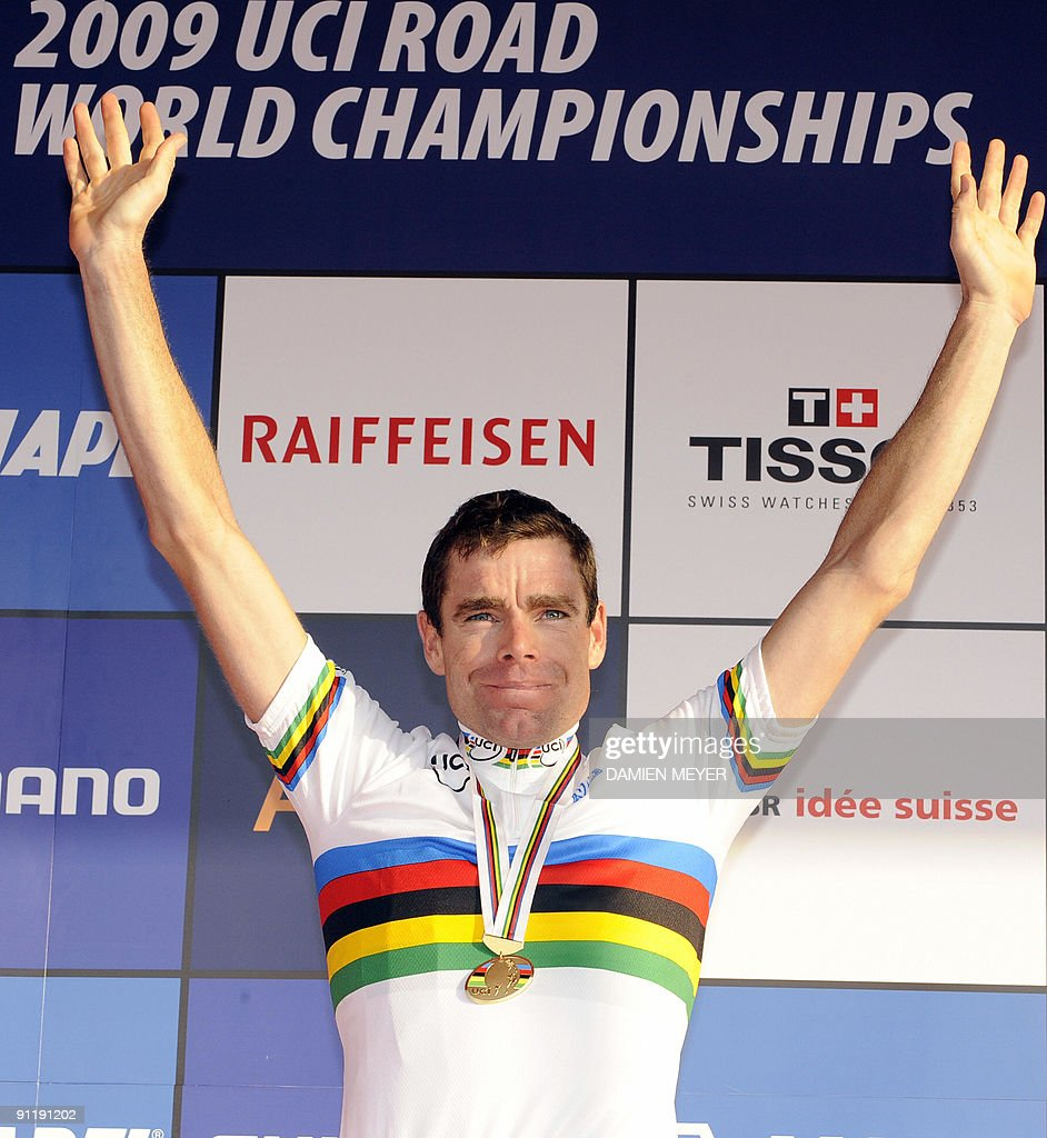 Gold medalist Cadel Evans of Australia celebrates on the podium of the Elite men's world road race championships at Mendrisio on September 27, 2009. Evans won ahead of Russia's Alexandr Kolobnev and Spain's Joaquin Rodriguez.