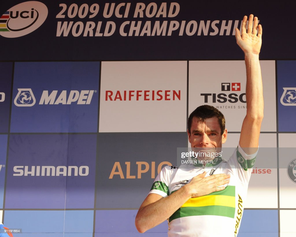 Gold medalist Cadel Evans of Australia celebrates on the podium of the Elite men's world road race championships at Mendrisio on September 27, 2009. Austrlia's Cadel Evans won ahead of Russia's Alexandr Kolobnev and Spain's Joaquin Rodriguez .