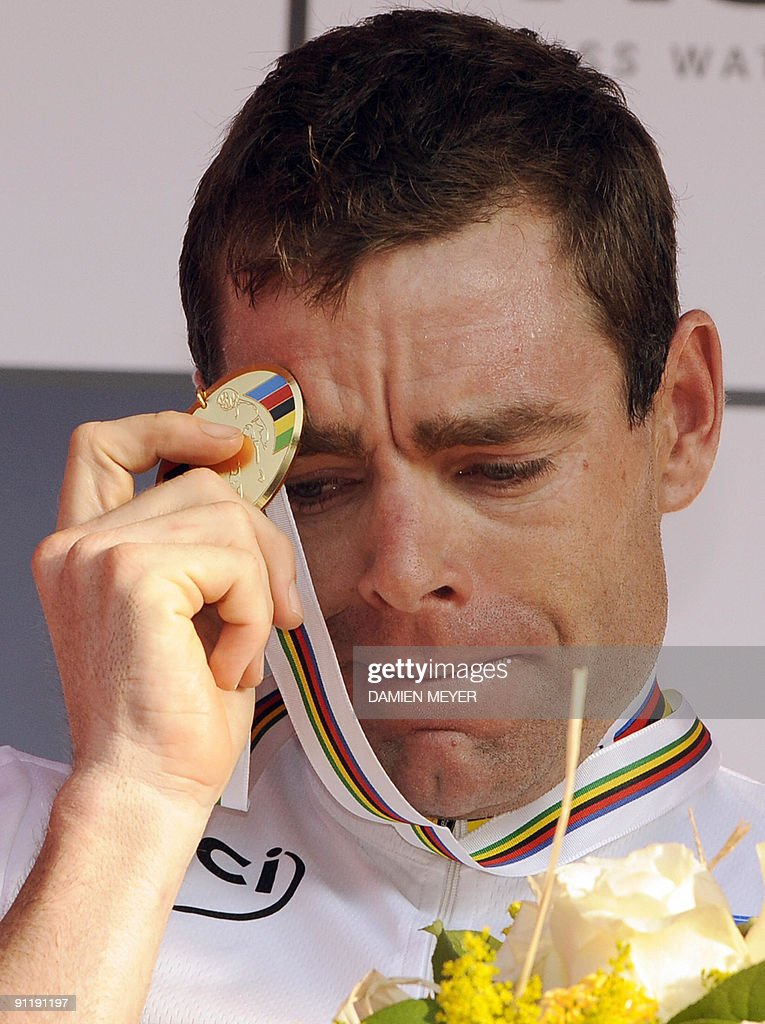 Gold medalist Cadel Evans of Australia stands on the podium of the Elite men's world road race championships at Mendrisio on September 27, 2009. Evans won ahead of Russia's Alexandr Kolobnev and Spain's Joaquin Rodriguez .