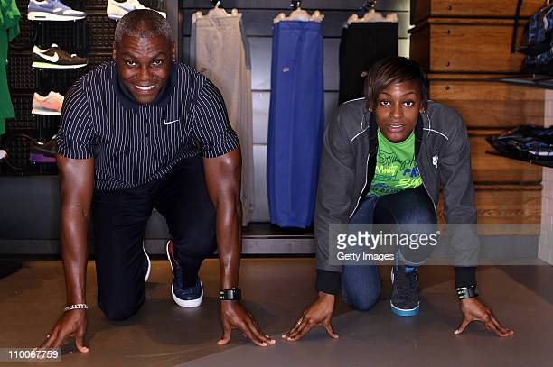 Gold medalist Carl Lewis and 2012 hopeful Perri Shakes Drayton appear at the Nike Running Store in London's Covent Garden for an exclusive Q A with...