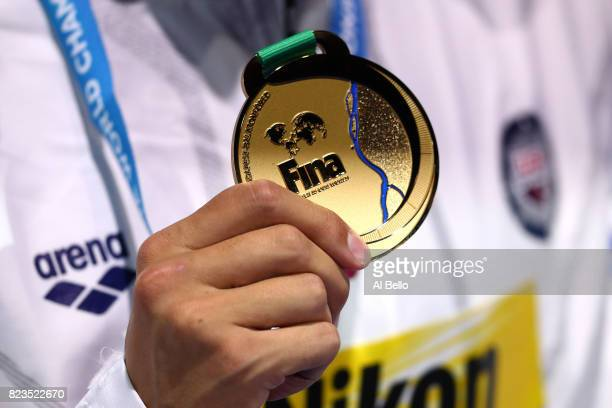 Gold medalist Chase Kalisz of the United States poses with the medal won during the Men's 200m Medley final on day fourteen of the Budapest 2017 FINA...