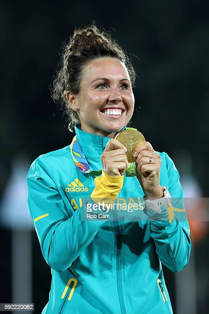 Gold medalist Chloe Esposito of Australia poses on the podium during the medal ceremony for the Women's Modern Pentathlon on Day 14 of the Rio 2016...