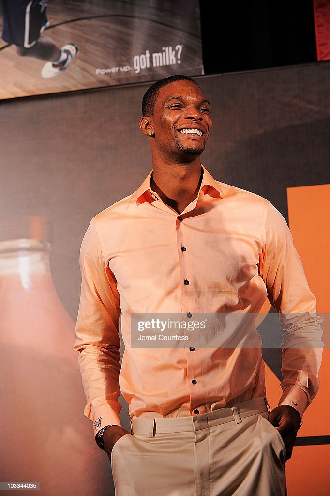 Gold Medalist Chris Bosh launchs the Refuel America Program and unveils the newest Milk Mustache ads at the 92nd Street Y on August 11, 2010 in New York City. Gold medalists Chris Bosh, Apolo Anton Ohno and Shawn Johnson teamed up today to announce a new campaign highlighting the importance of refueling with lowfat chocolate milk during the two-hour recovery window after exercise.