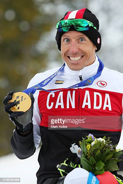Gold medalist Chris Klebl of Canada poses during the medal ceremony for the Men's Cross Country10km Sitting on day nine of the Sochi 2014 Paralympic...