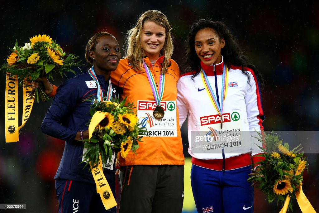 Gold medalist <a gi-track='captionPersonalityLinkClicked' href=/galleries/search?phrase=Dafne+Schippers&family=editorial&specificpeople=7115446 ng-click='$event.stopPropagation()'>Dafne Schippers</a> of the Netherlands poses next to silver medalist <a gi-track='captionPersonalityLinkClicked' href=/galleries/search?phrase=Myriam+Soumare&family=editorial&specificpeople=5499796 ng-click='$event.stopPropagation()'>Myriam Soumare</a> of France and bronze medalist <a gi-track='captionPersonalityLinkClicked' href=/galleries/search?phrase=Ashleigh+Nelson+-+Track+and+Field+Athlete&family=editorial&specificpeople=13496592 ng-click='$event.stopPropagation()'>Ashleigh Nelson</a> of Great Britain and Northern Ireland on the podium during the medal ceremony after the Women's 100 metres final during day two of the 22nd European Athletics Championships at Stadium Letzigrund on August 13, 2014 in Zurich, Switzerland.