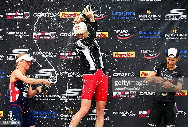Gold medalist Daniela Ryf of Switzerland Silver medalist Emma Pooley of Great Britain and Bronze medalist Regula Rohrbach of Switzerland celebrate on...