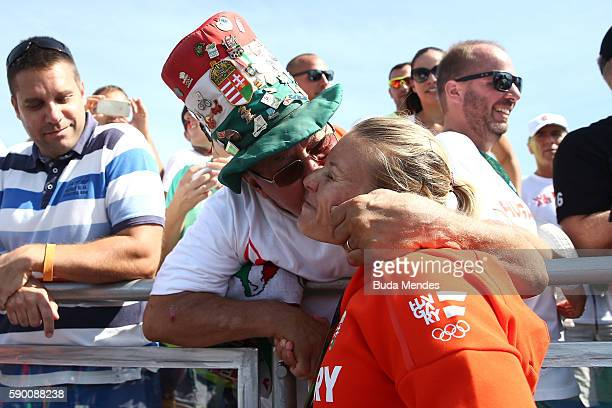 Gold medalist Danuta Kozak of Hungary celebrates after the Women's Kayak Double 500m Final A on Day 11 of the Rio 2016 Olympic Games at the Lagoa...