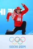 Gold medalist Darya Domracheva of Belarus celebrates on the podium during the medal ceremony for the Biathlon Women's 15km Individual on day 8 of the...