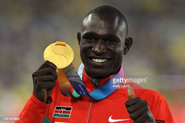 Gold medalist David Lekuta Rudisha of Kenya celebrates on the podium with his medal for the men's 800 metres during day six of 13th IAAF World...