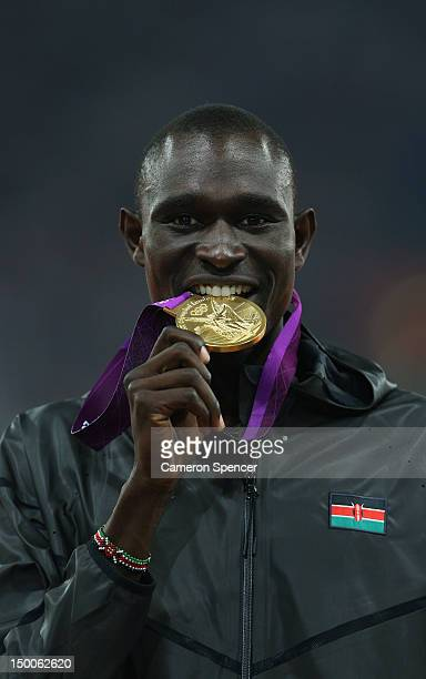 Gold medalist David Lekuta Rudisha of Kenya poses on the podium during the medal ceremony for the Men's 800m on Day 13 of the London 2012 Olympic...