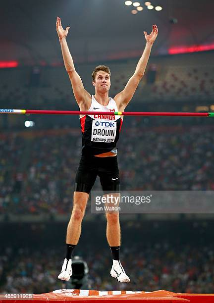 Gold medalist Derek Drouin of Canada celebrates a jump in the Men's High Jump Final during day nine of the 15th IAAF World Athletics Championships...