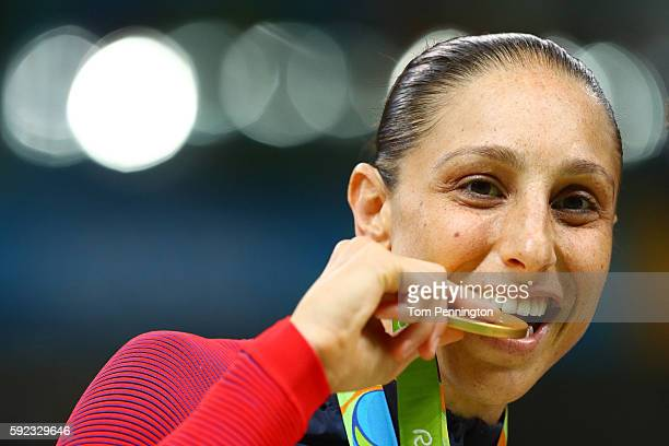Gold medalist Diana Taurasi of United States celebrates during the medal ceremony after the Women's Basketball competition on Day 15 of the Rio 2016...