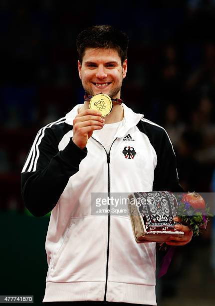 Gold medalist Dimitrij Ovtcharov of Germany stands on the podium after the Men's Table Tennis Finals during day seven of the Baku 2015 European Games...