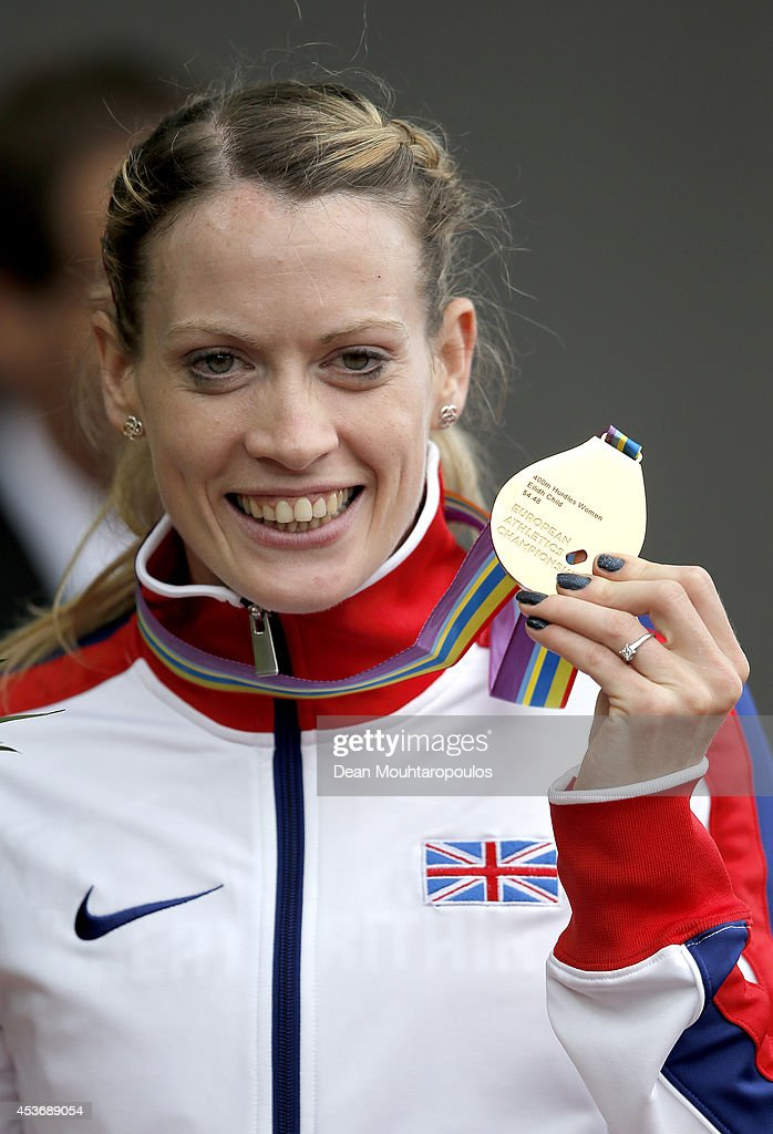 Gold medalist <a gi-track='captionPersonalityLinkClicked' href=/galleries/search?phrase=Eilidh+Child&family=editorial&specificpeople=6146746 ng-click='$event.stopPropagation()'>Eilidh Child</a> of Great Britain and Northern Ireland poses with her medal during the medal ceremony for the Women's 400 metres hurdles final during day five of the 22nd European Athletics Championships at Stadium Letzigrund on August 16, 2014 in Zurich, Switzerland.