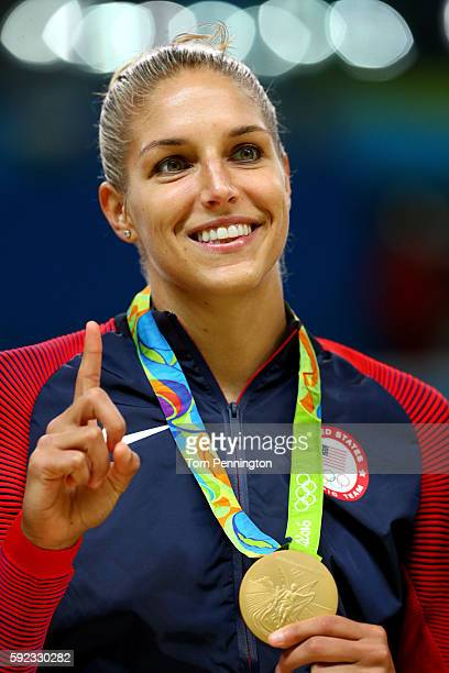 Gold medalist Elena Delle Donne of United States celebrates during the medal ceremony after the Women's Basketball competition on Day 15 of the Rio...