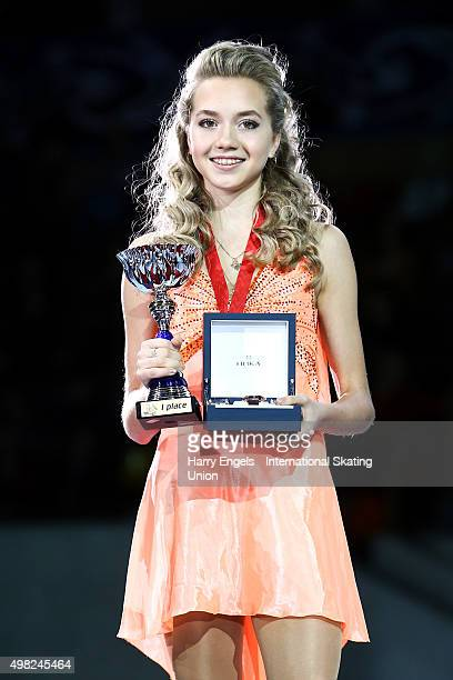 Gold medalist Elena Radionova of Russia poses with her medal on day three of the Rostelecom Cup ISU Grand Prix of Figure Skating 2015 at the Luzhniki...