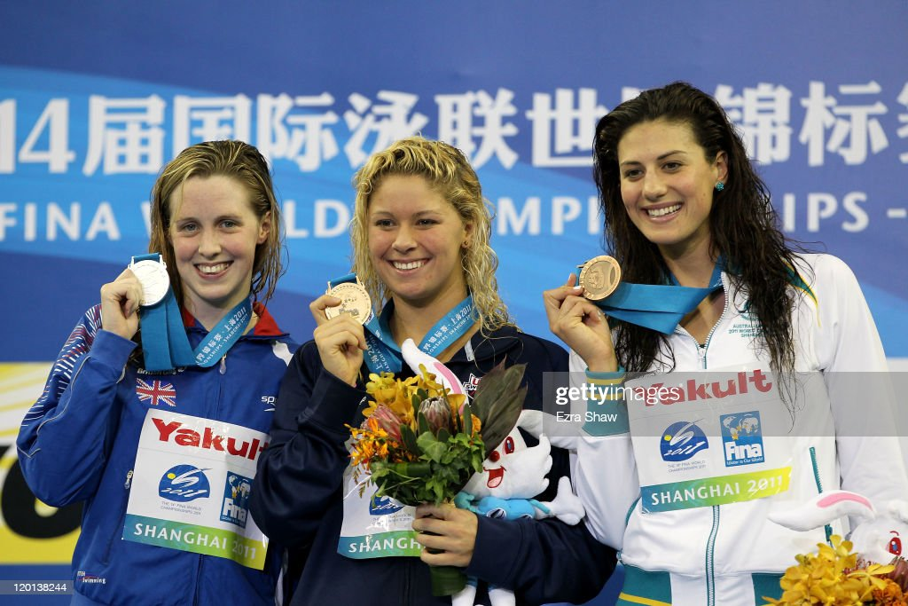 Gold medalist <a gi-track='captionPersonalityLinkClicked' href=/galleries/search?phrase=Elizabeth+Beisel&family=editorial&specificpeople=4651274 ng-click='$event.stopPropagation()'>Elizabeth Beisel</a> (C) of the United States poses with silver medalist <a gi-track='captionPersonalityLinkClicked' href=/galleries/search?phrase=Hannah+Miley+-+Swimmer&family=editorial&specificpeople=4333059 ng-click='$event.stopPropagation()'>Hannah Miley</a> of Great Britain and bronze medalist <a gi-track='captionPersonalityLinkClicked' href=/galleries/search?phrase=Stephanie+Rice&family=editorial&specificpeople=178340 ng-click='$event.stopPropagation()'>Stephanie Rice</a> of Australia after the Women's 400m Individual Medley Final during Day Sixteen of the 14th FINA World Championships at the Oriental Sports Center on July 31, 2011 in Shanghai, China.