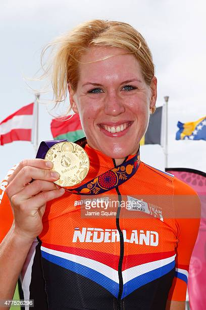 Gold medalist Ellen Van Dijk of The Netherlands poses with the medal won in the Women's Road cycling Individual Time Trial during day six of the Baku...