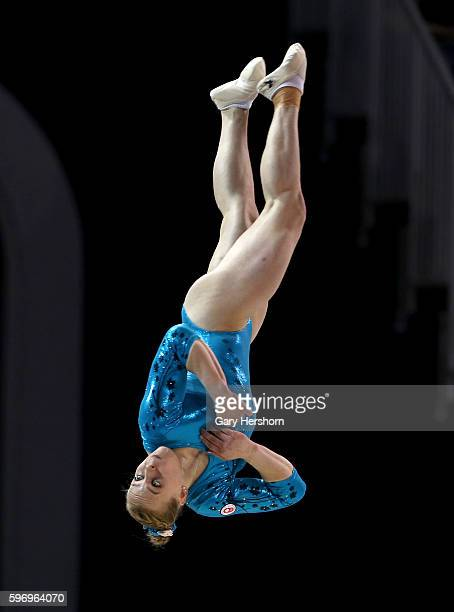 Gold medalist Ellie Black of Canada dismounts from the balance beam during the women's all around gymnastics competition at the Toronto 2015 PanAm...