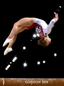 Gold medalist Elsabeth Black of Canada competes in the Women's Beam Final at SSE Hydro during day nine of the Glasgow 2014 Commonwealth Games on...