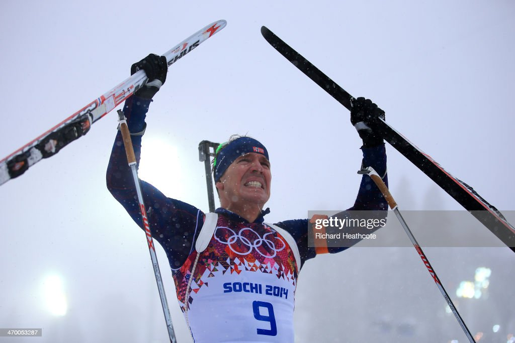 Gold medalist <a gi-track='captionPersonalityLinkClicked' href=/galleries/search?phrase=Emil+Hegle+Svendsen&family=editorial&specificpeople=831528 ng-click='$event.stopPropagation()'>Emil Hegle Svendsen</a> of Norway celebrates after the Men's 15 km Mass Start during day 11 of the Sochi 2014 Winter Olympics at Laura Cross-country Ski & Biathlon Center on February 18, 2014 in Sochi, Russia.