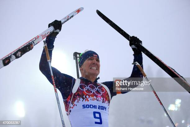 Gold medalist Emil Hegle Svendsen of Norway celebrates after the Men's 15 km Mass Start during day 11 of the Sochi 2014 Winter Olympics at Laura...
