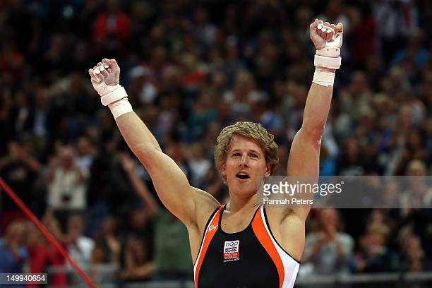 Gold medalist Epke Zonderland of Netherlands celebrates after the Artistic Gymnastics Men's Horizontal Bar final on Day 11 of the London 2012 Olympic...