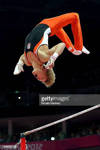 Gold medalist Epke Zonderland of Netherlands competes in the Artistic Gymnastics Men's Horizontal Bar final on Day 11 of the London 2012 Olympic...
