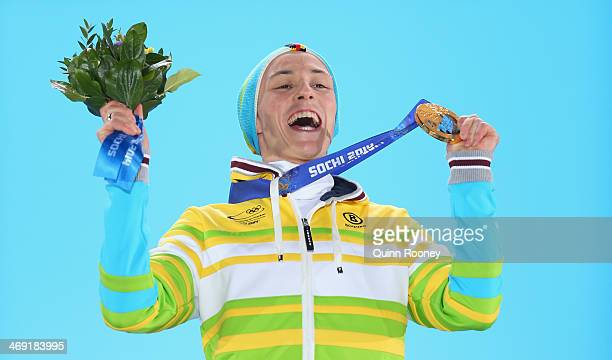 Gold medalist Eric Frenzel of Germany celebrates during the medal ceremony for the Nordic Combined Individual Gundersen NH/10km on day six of the...