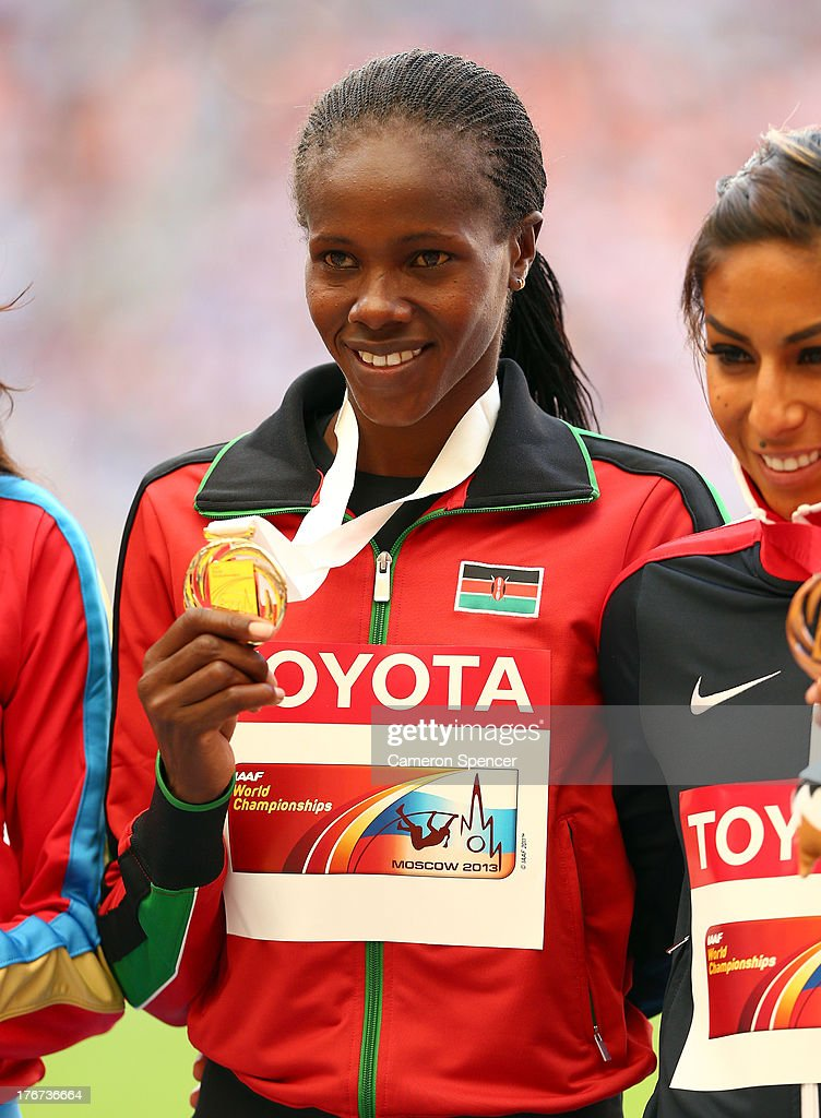 Gold medalist Eunice Jepkoech Sum of Kenya on the podium during the medal ceremony for the Women's 800 metres during Day Nine of the 14th IAAF World Athletics Championships Moscow 2013 at Luzhniki Stadium on August 18, 2013 in Moscow, Russia.