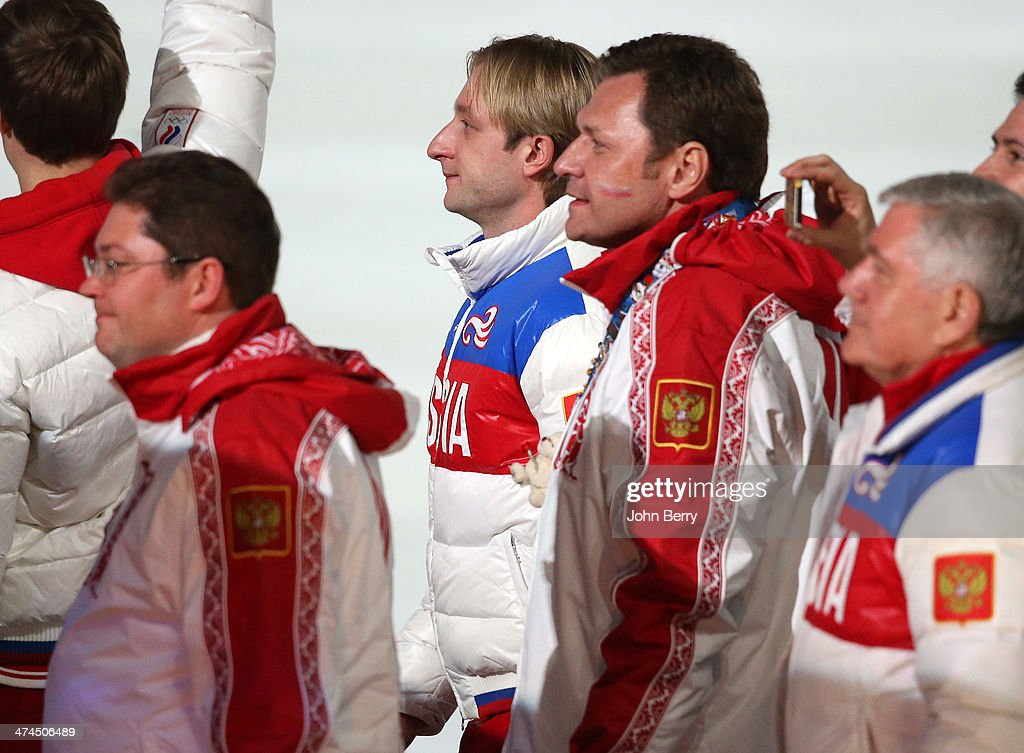 Gold medalist Evgeni Plushenko of Russia enters the stadium during the 2014 Sochi Winter Olympics Closing Ceremony at Fisht Olympic Stadium on February 23, 2014 in Sochi, Russia.