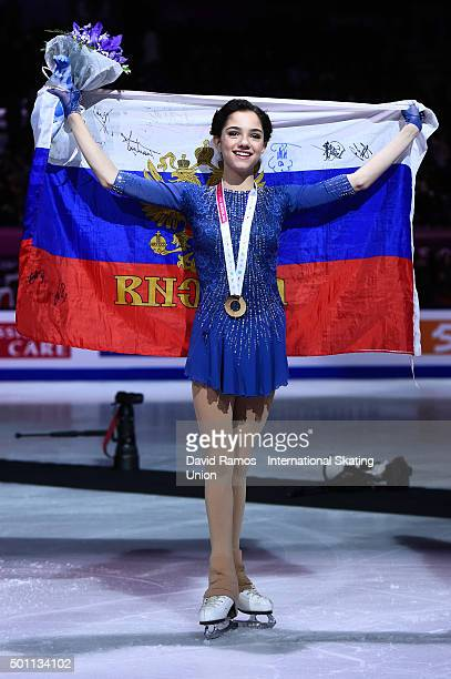 Gold medalist Evgenia Medvedeva of Russia poses during the Ladies final medal ceremony during day three of the ISU Grand Prix of Figure Skating Final...