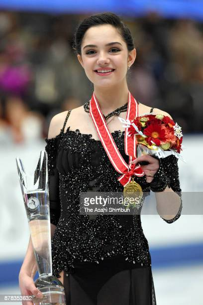 Gold medalist Evgenia Medvedeva of Russia poses for photographs on the podium at the medal ceremony for the Ladies Singles during day two of the ISU...