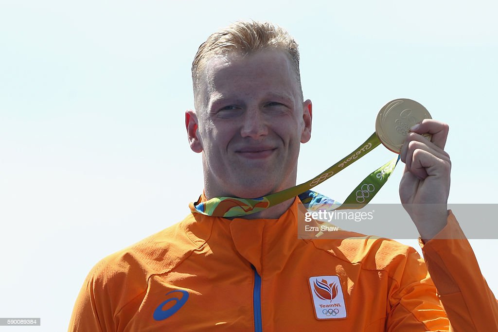 Gold medalist Ferry Weertmann of Netherlands stands on the podium during the medal ceremony for the Men's 10km Marathon Swim on Day 11 of the Rio...