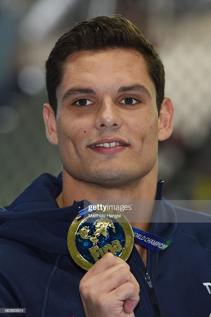 Gold medalist Florent Manaudou of France poses during the medal ceremony for the Men's 50m Butterfly on day ten of the 16th FINA World Championships at the Kazan Arena on August 3, 2015 in Kazan, Russia.
