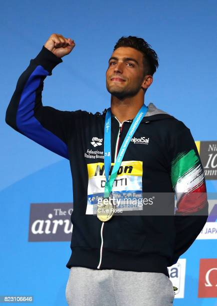 Gold medalist Gabriele Detti of Italy poses with the medal won during the Men's 800m Freestyle final on day thirteen of the Budapest 2017 FINA World...