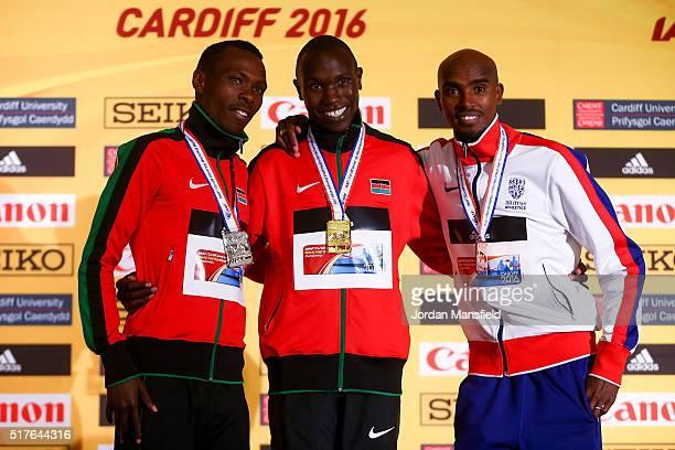 Gold medalist Geoffrey Kipsang Kamworor of Kenya Silver medalist Bedan Karoki Muchiri of Kenya and Bronze medalist Mo Farah of Great Britain pose for...