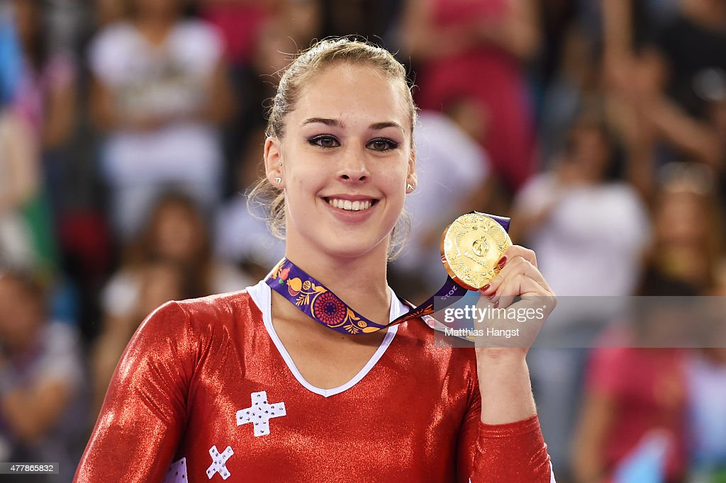Gold medalist <a gi-track='captionPersonalityLinkClicked' href=/galleries/search?phrase=Giulia+Steingruber&family=editorial&specificpeople=8524243 ng-click='$event.stopPropagation()'>Giulia Steingruber</a> of Switzerland celebrates during the medal ceremony for the Women's Vault final on day eight of the Baku 2015 European Games at the National Gymnastics Arena on June 20, 2015 in Baku, Azerbaijan.