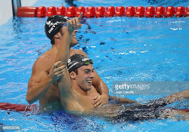 Gold medalist Gregorio Paltrinieri and bronze medalist Gabriele Detti of Italia celebrate following the Men's 1500m Freestyle Final on day 8 of the...