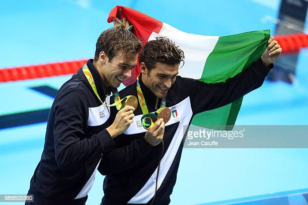 Gold medalist Gregorio Paltrinieri and bronze medalist Gabriele Detti of Italia pose during the medal ceremony for the Men's 1500m Freestyle Final on...